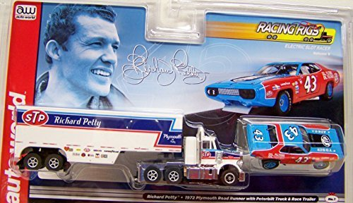 Auto World Racing Rigs Richard Petty NASCAR style Race Set HO Electric Slot Car White (Slot Car Runner)