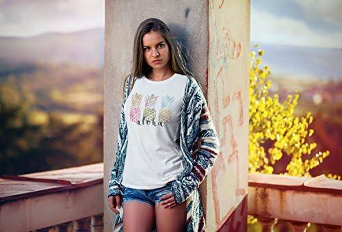 Neverless damska koszulka Aloha Ananas Print Pineapple kolorowa Slim Fit: Odzież