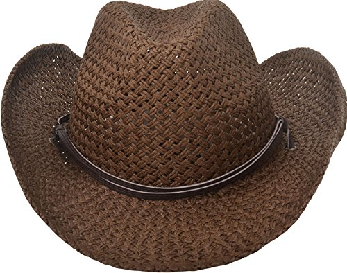 Simplicity Western Country Style Cowboy Straw Hat Leather Band,Chocolate