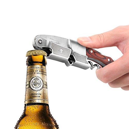MICHELANGELO Professional Waiters Corkscrew With Rosewood Handle & Bonus Leather Case, Wine Keys, 3-in-1 Double Hinged Corkscrew Wine Bottle Opener With Foil Cutter & Beer Bottle Opener by MICHELANGELO (Image #5)