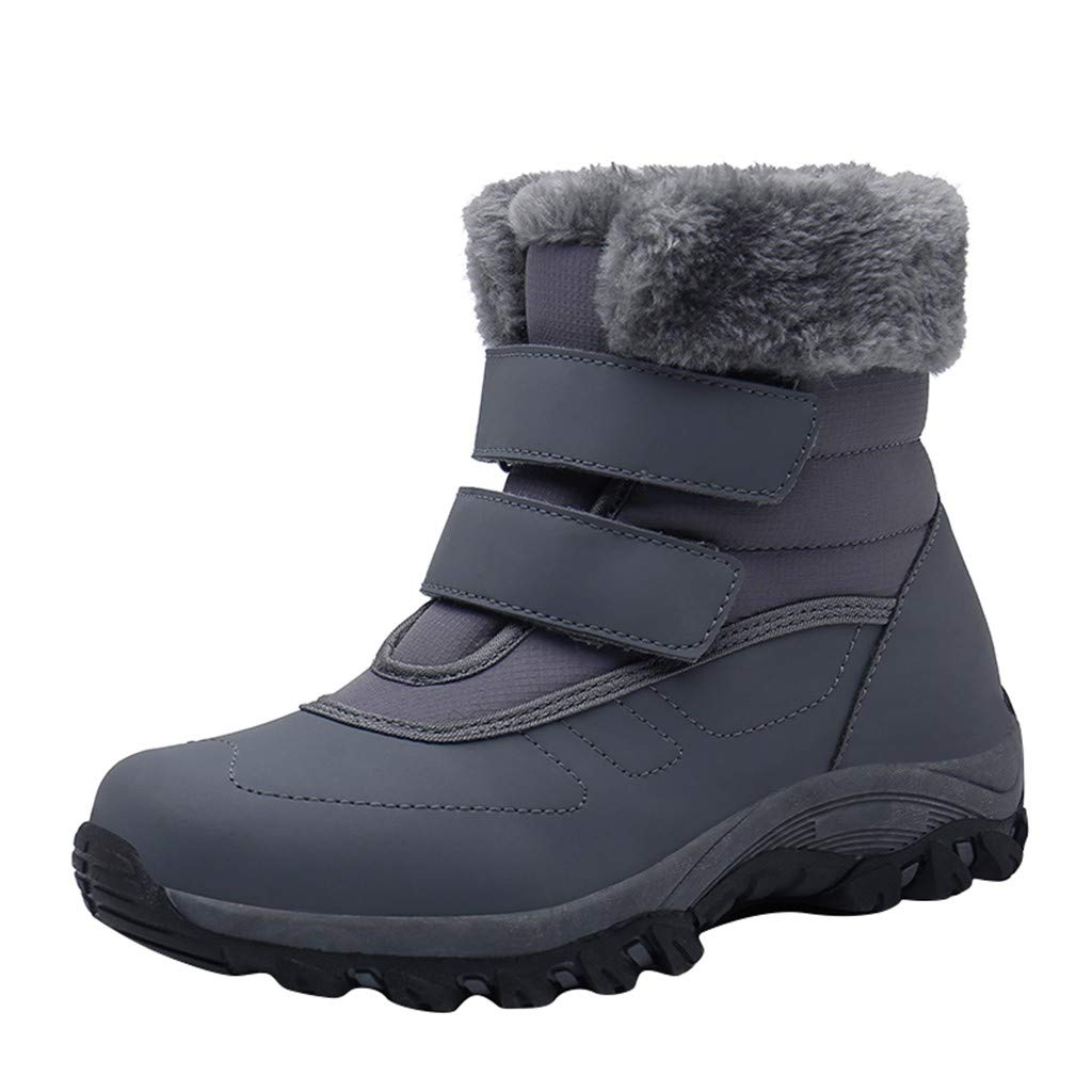 Women Warm Snow Boots Outdoor Anti-Slip Soft Sole Ankle Booties Waterproof Slip on Sneakers Fur Lining Comfy Shoes (US:7.5, Gray) by Dasuy