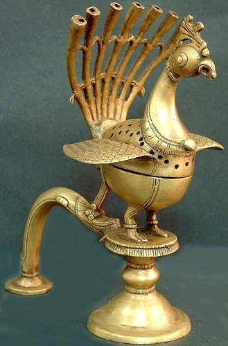 Peacock Incense Burner - Brass Statue
