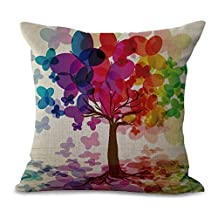 """YJ Bear Colorful Tree Digital Print Linen Decorative Throw Cushion with Filler Office Chair Seat Back Cushion Decorative Pillow with Insert 18"""" X 18"""""""
