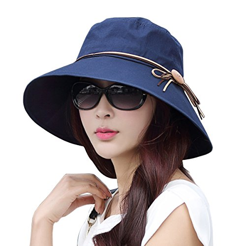 Women Ladies Summer Sun Hat - WITERY Wide Brim Sun Hats Foldable Beach Hat Sun Visor Cloche UPF50+ Cap UV Protection for Women Girl Navy Blue