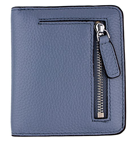 Women's RFID Blocking Small Genuine Leather Wallet Ladies Mini Card Case Purse (Gray Blue)