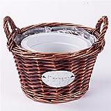 EXDJ Handmade Wicker cane weaving creative flower basket bamboo flower pots,C Big