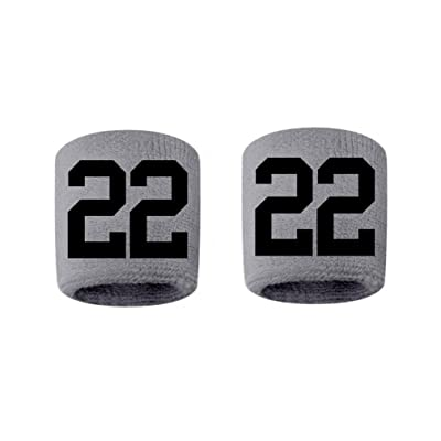 #22 Embroidered/Stitched Sweatband Wristband GRAY Sweat Band w/ BLACK Number (2 Pack)