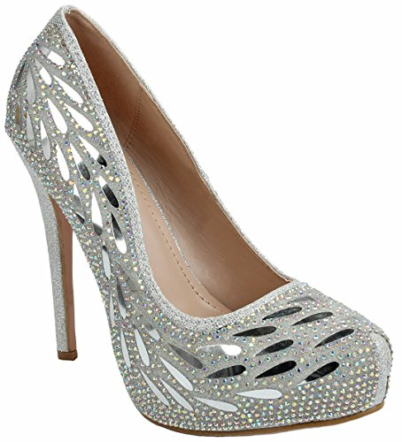 Women Flower Silver Feather Sparkle Crystal Pearl Rhinestone Glitter Formal Evening High Heel Dress (Rhinestone High Heels)