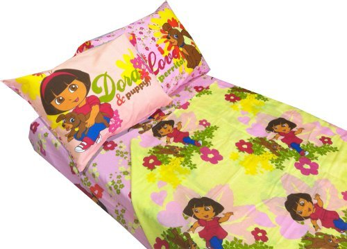 Dora Explorer Puppy Dog 4pc Full Bed Sheet Set ()