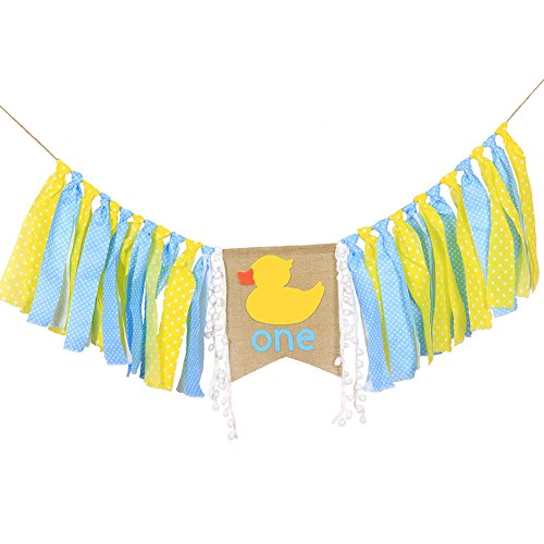 WAOUH High Chair Banner for 1st Birthday - First Birthday Decorations for Photo Booth Props, Birthday Souvenir and Gifts for Kids, Best Party Supplies (Duck)