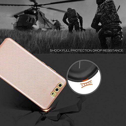 YAJIE-Carcasa Funda Para el caso Huawei P10 Plus, cubierta de la caja a prueba de choques híbrida TPU de caucho de fibra de carbono delgada ( Color : Rose Gold ) Black