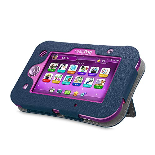 Fintie LeapPad Ultimate Case - Kids Friendly [Hands Free] Dual Viewing Angle Premium Vegan Leather Stand Cover for 7-Inch Leapfrog LeapPad Ultimate Ready for School Tablet, Navy