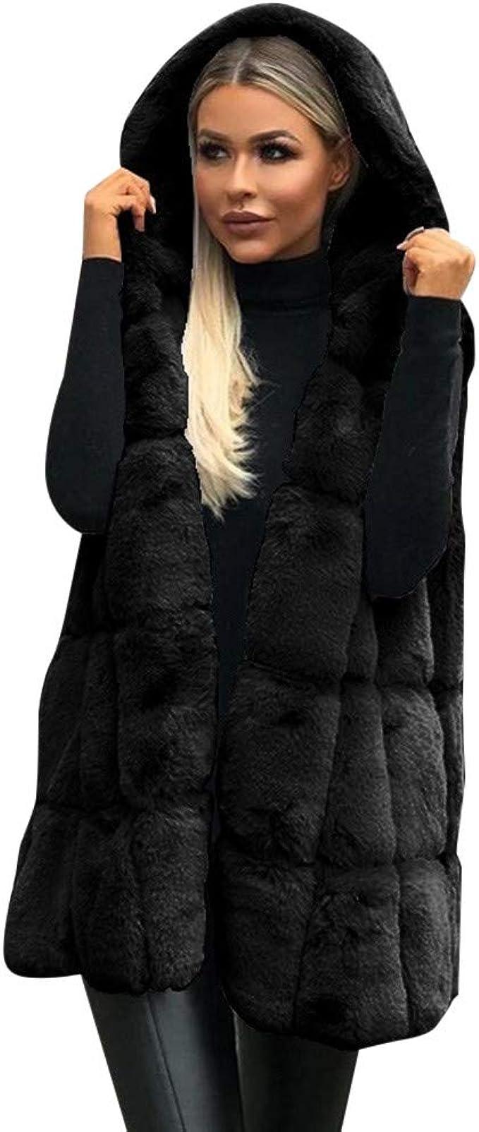 BELLA HXR Giacca Donna Cappotti di Visone da Donna Cappotti Invernali di Nuova Giacca in Pelliccia Sintetica con Cappuccio Giacca Donna,Autunno