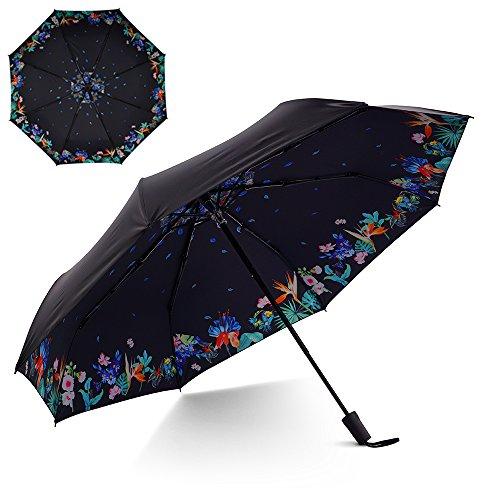 Flexzion Small Travel UV Sun & Rain Umbrella - Windproof & Sun UV Protection Screen Shade Block Compact Mini Portable Folding Umbrella with Handle Wrist Strap and Carrying Bag (Assorted Flower)