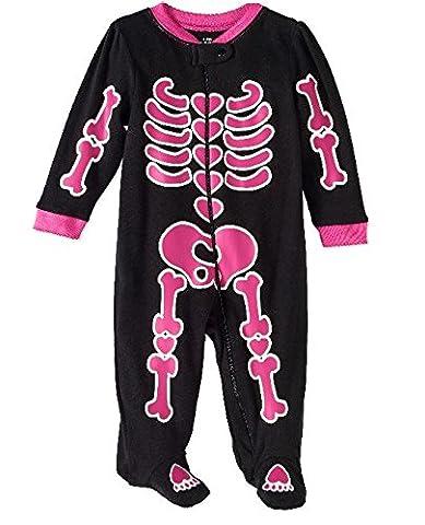 Assorted Policeman, Pumpkin, Cat, Ghost, Skeleton Baby Boys & Girls Halloween Footed Sleeper (Sizes Newborn-9 Months) (3-6 Months, Black/Pink - Girls Pink Sleeper