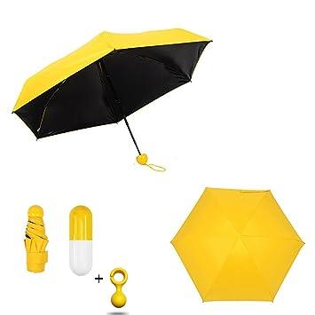 yeapook Mini paraguas 5 paraguas plegable paraguas resistente al viento ligero de viaje compacto con Cute
