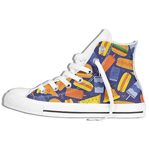 Classiche Sneakers Alte Scarpe Di Tela Antiscivolo Fast Food Casual Da Passeggio Per Uomo Donna Bianco
