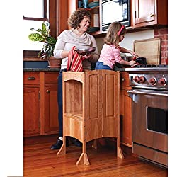 Guidecraft Heartwood Kitchen Helper Stool - Solid Cherry: Premium Solid Wood, Adjustable Height, Foldable Baking Stool for Children - Kids Safe Kitchen Furniture - Limited Edition