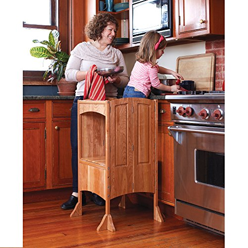 Guidecraft Heartwood Kitchen Helper - Solid Cherry: Premium Wood, Adjustable Height, Foldable Baking Stool For Children - Kids Kitchen Furniture - Limited Edition (Furniture Childrens Guidecraft)