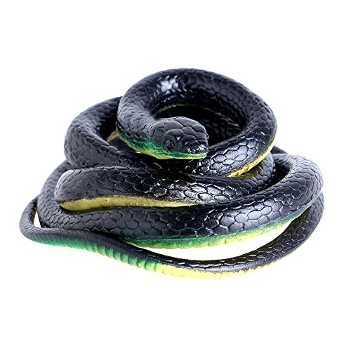 Nakimo Realistic Rubber Fake Snake Toy 52 Inch Mamba for Garden Props and Practical Joke