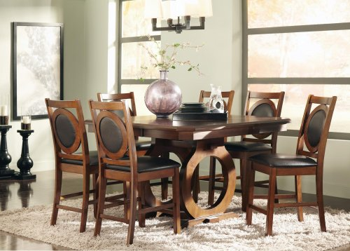 St John Counter Height Dining Table With Circular Cut Out Double Pedestal Base And Leaf with 6 matching side chairs By Coaster Furniture (Circular And Dining Chairs Oak Table)