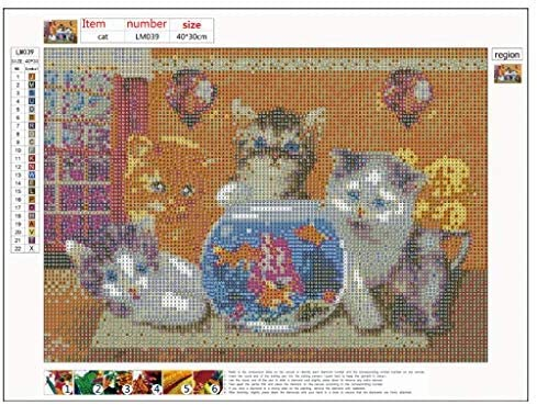 DIY 5D cuadro de diamantes para adultos Gato cuadro a numeros bordado cuadro punto de cruz diamante decoraci/ón de pared 30x40cm Kits de pintura de diamantes para ni/ños