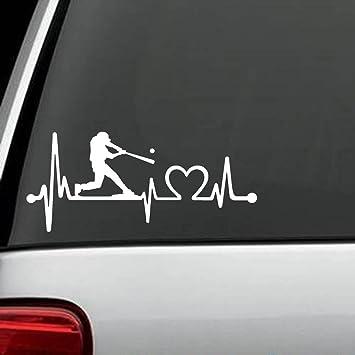K1075 baseball guy batter batting heartbeat lifeline decal sticker