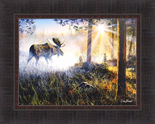 Walk In The Mist by Jim Hansel 17x21 Moose Sunrise Framed Art Print Wall Décor Picture