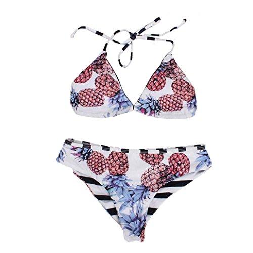 Hot Sale Women's Sexy Sandy Beach Bikini Set Female Elegant Push-Up Padded Bra Beach Bikini Swimsuit Charming Printing Pineapple Swimwear (Asian Size:L, White)