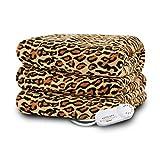 Biddeford 4441-907484-791 Electric Heated Comfort Knit Throw, 50-Inch by 62-Inch, Cheetah Print