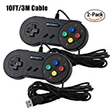 Exlene Usb Controller Gamepads Joystick 10ft/3m (2pack),Usb Snes Controller Super Snes Classic Controller for PC Windows Ubuntu Raspberry Pi 3 Retropie Sega Genesis (Black)