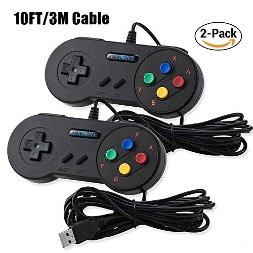 Exlene® Usb Controller Gamepads Joystick 10ft/3m (2pack),Usb Snes Controller Super Snes Classic Controller for PC Windows Ubuntu Raspberry Pi 3 Retropie Sega Genesis (Black)