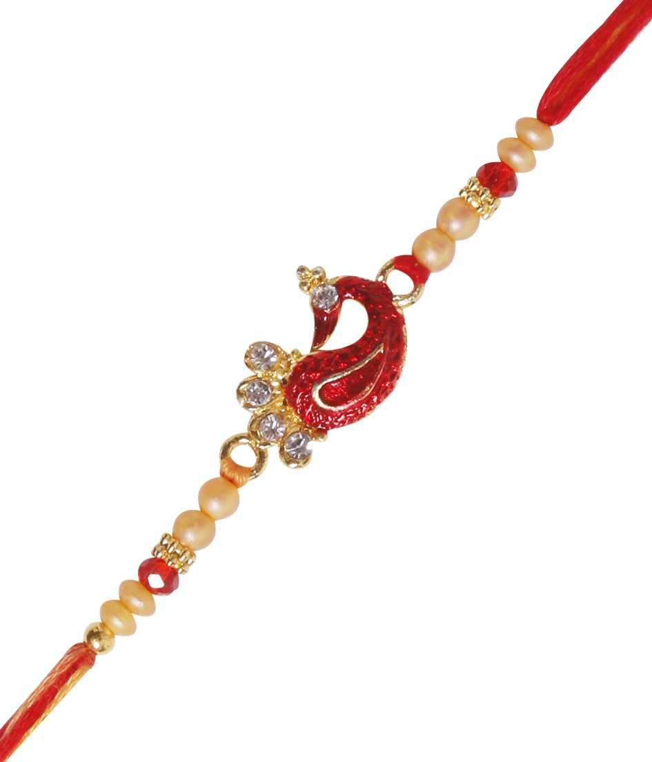 Chandan Wood Om Rakhi for Brother Raksha Bandhan Traditional Colorful Beads Rakhee for Kids Indian Hindu Festival Artisenia