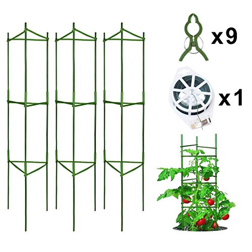 Derlights Tomato Cage Assembled Plant Support, 3Pack Tomato Stakes Cucumbers Trellis for Climbing Plants Garden Vegetables (Tomato Fence)