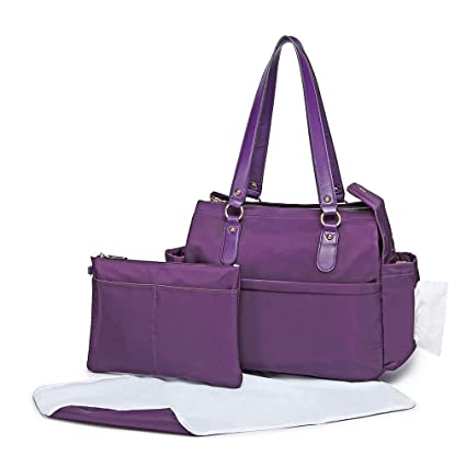 38e1c5d8f8bf6 Miss Lulu Baby Changing Bags Nappy Changing Bags 3pcs Fashion Handbags with  Changing Pad for Dad & Mum (Purple): Amazon.co.uk: Baby