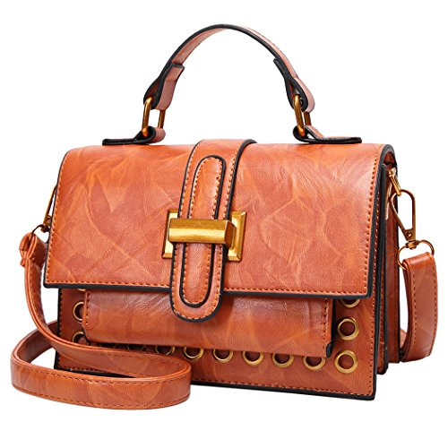 Brown Handbag Shoulder Buckle Top Light Handbag Coafit Handle Lady xYA88q