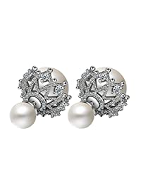 Sterling Silver Plated Cubic Zirconia Two-Tone Hollow Lace double-sided ball Simulated Pearl Women Stud Earrings,white