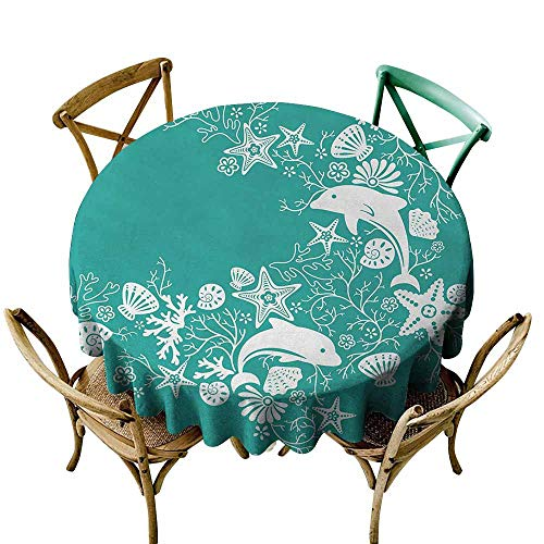 Zmlove Sea Animals Antifouling Tablecloth Dolphins Flowers Sea Life Floral Pattern Starfish Coral Seashell Wallpaper Washable Tablecloth Sea Green White (Round - 59