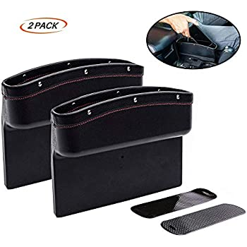 Car Gap Filler AKAHA Car Seat Side Pocket Car Seat Organizer for Cellphones,Keys,Cards,Wallets,Coins with Coin Organizer Built-in Wireless Charging Brown