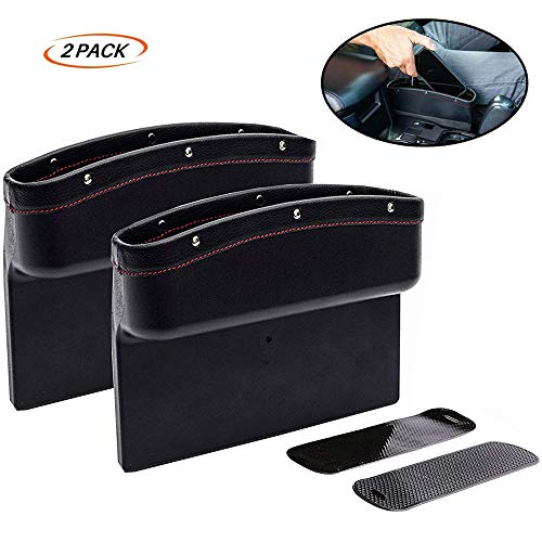 Fincy Palmoo - Caja de almacenamiento para asiento de coche de piel sintética, organizador de bolsillo para guardar guardar el teléfono, la tarjeta de monedas, accesorios para el interior del coche