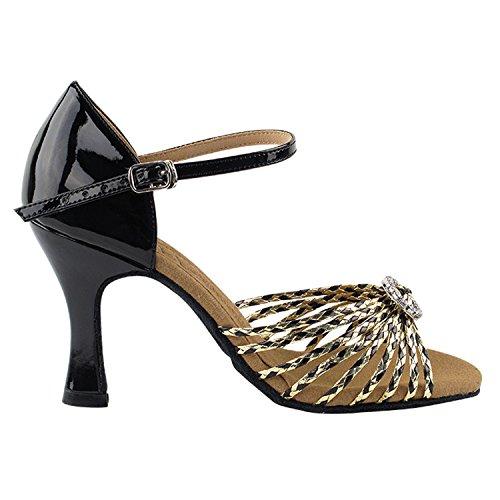 50 Shades Of Gold Zapatos De Baile Collection, Comfort Vestido De Noche Wedding Pumps, Zapatos De Salón Para América, Tango, Salsa, Swing, Theather Arte Por 50 Tonos (2.5 3 Y 3.5 Heels) S9283 Black & Gold Braid