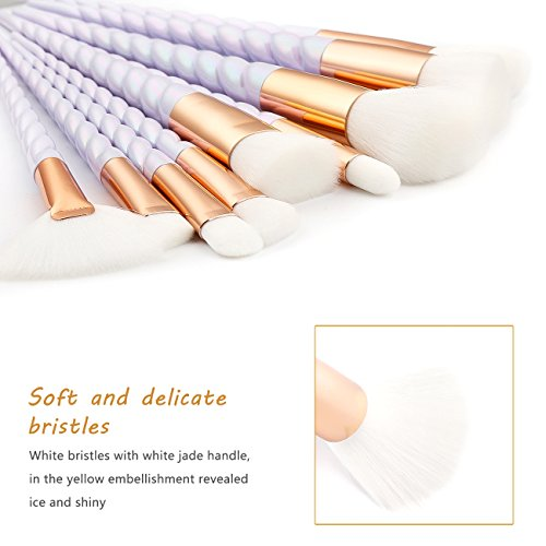 Makeup Brush Set,Unicorn Design Brushes - LADES 10 Pcs Professional Cosmetic Sets Tools with Brush Egg and Silicone Sponge Best for Foundation Eyeshadow Eyebrow Eyeliner Blush Powder Concealer Contour