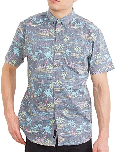 Hawaiian Shirts for Men Button Up Tropical Short Sleeve Aloha Palms Grey Shirt L