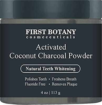 100 % Natural Activated Coconut Charcoal Powder 4 oz for All Natural Teeth Whitening with Bentonite Clay- Professional Fluoride Free Teeth Whitening that Polishes Teeth & Freshens Breath