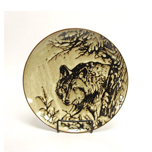 North America Woodlands Gray Wolf Stoneware Dinner Plate American Wildlife Collection Dinner Plate