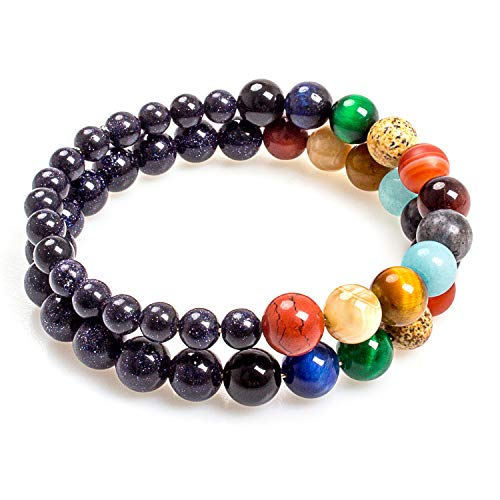 Addmluck Mala Beads Solar System Bracelet Universe Galaxy Gifts for Women Men Gemstone Anxiety Relief Friendship The Eight Planets Guardian Bracelet(Double Small Universe) ()