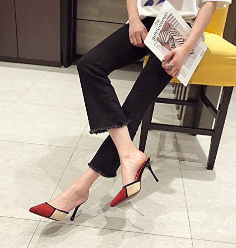 Ajunr Moda/elegante/Transpirable/Sandalias Solo los zapatos Retro Ocio Zapatos de mujer Boca superficial Cabeza afilada Los tacones finos 9cm talones Rojo,35 34
