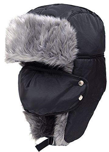 Odema Unisex Nylon Russian Style Winter Ear Flap Hat Black One -