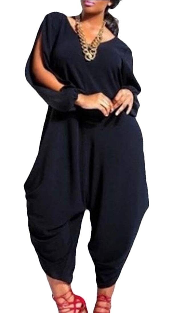 Tymhgt Women Solid Color Harem Baggy Hollow Out Casual Jumpsuits Rompers