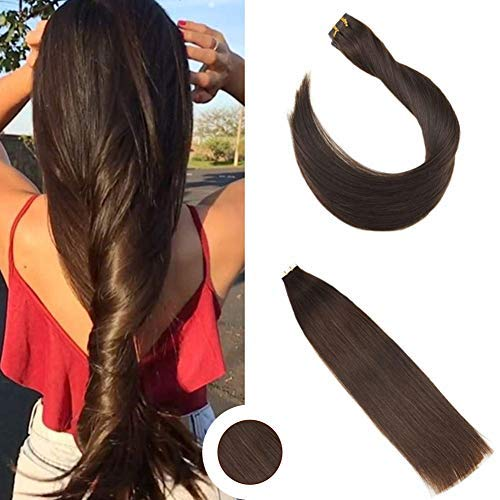 Ugeat 22inch Tape in Extensions Invisiable Tape Skin Weft Dark Brown Color #4 Real Human Hair Extension Tape in Hair Extensions 50Gram Per Package